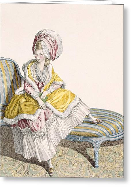 Lady In Morning Gown In Lemon And Pink Greeting Card
