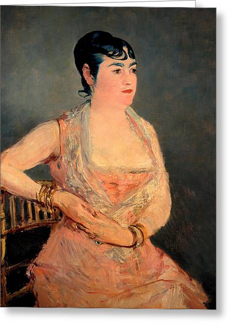 Lady In Pink Greeting Card by Edouard Manet