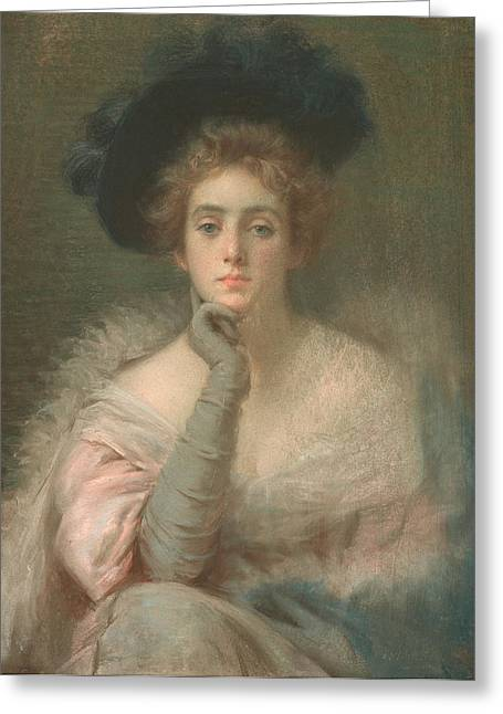 Lady In Pink Greeting Card by Joseph W Gies