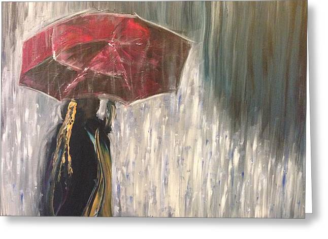 Lady In Rain Greeting Card
