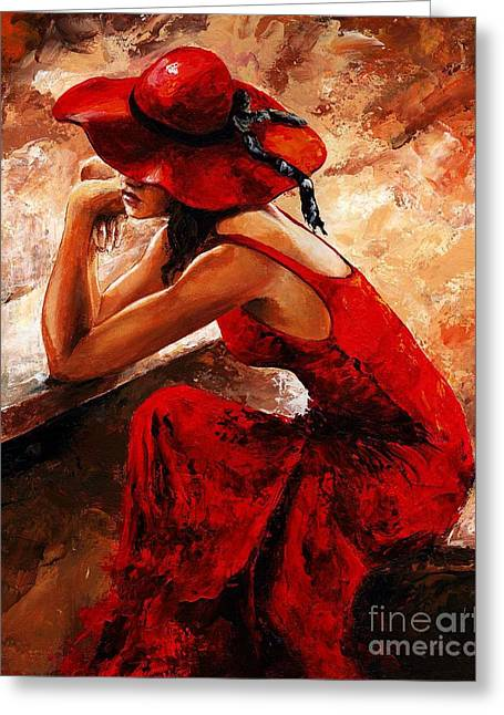 Lady In Red 21 Greeting Card