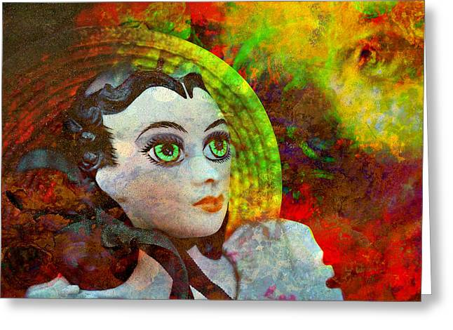 Greeting Card featuring the mixed media Lady In Red by Ally  White