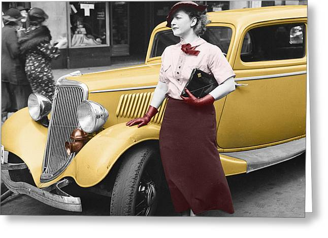 Lady In Red Greeting Card by Andrew Fare