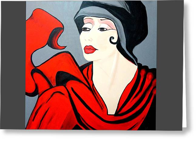 Lady In Red  Art Deco Greeting Card
