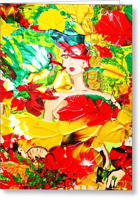 Lady In Red Greeting Card by Carmen Doreal