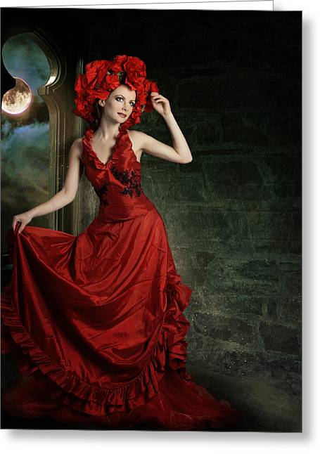 Lady In Red Greeting Card by Ester  Rogers