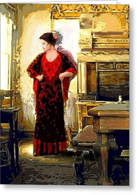 Lady In Red Prints Posters Greeting Card by Larry Lamb