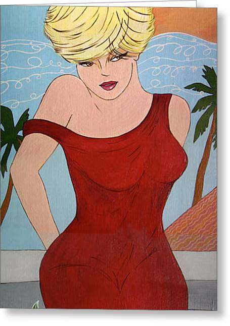Lady In Red Greeting Card by Linda Kassabian