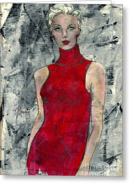 Lady In Red Greeting Card by P J Lewis