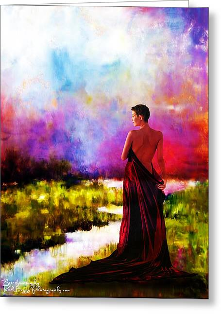 Lady In Red Greeting Card by Rick Buggy