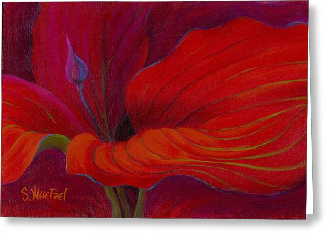 Greeting Card featuring the painting Lady In Red by Sandi Whetzel