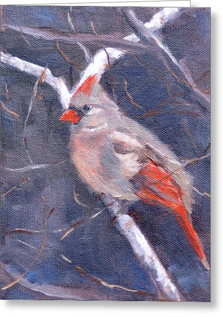 Lady In Red Greeting Card by Sandra Harris