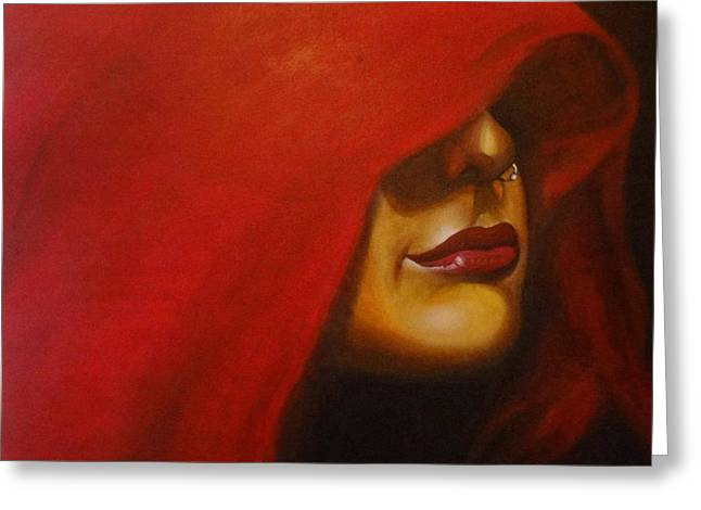 lady in Red Greeting Card by Sheetal Bhonsle