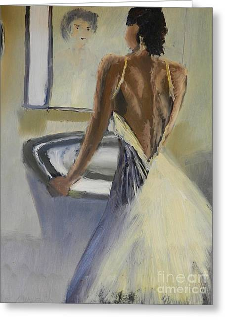 Greeting Card featuring the painting Lady In The Mirror by Pamela  Meredith