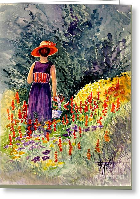 Lady In The Orange Hat Greeting Card by Marilyn Smith