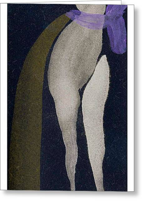 Lady In The Purple Bow Entwined Figures Series Greeting Card