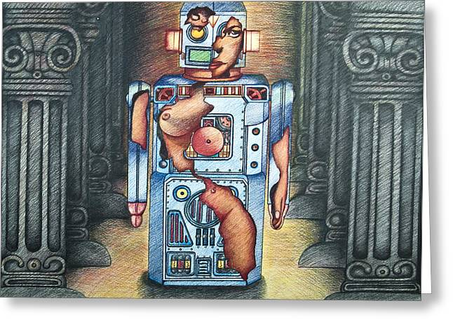 Lady In The Robot Greeting Card