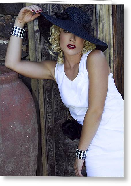 Lady In White Palm Springs Greeting Card