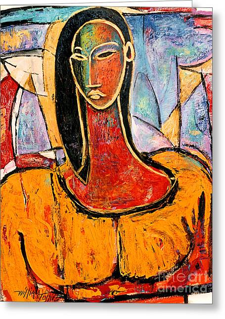 Lady In Yellow Greeting Card by William Tolliver