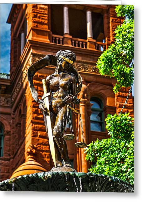 Lady Justice Fountain Greeting Card by Greg Sharpe
