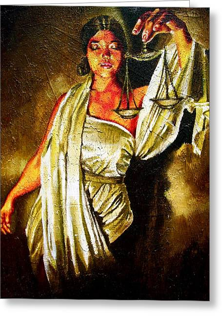 Lady Justice Sepia Greeting Card