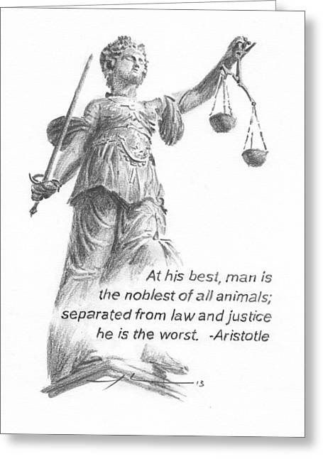 Lady Justice Statue Pencil Portrait Greeting Card by Mike Theuer