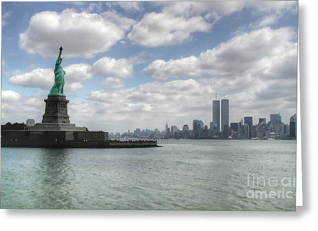 Lady Liberty And New York Twin Towers Greeting Card by Tap On Photo