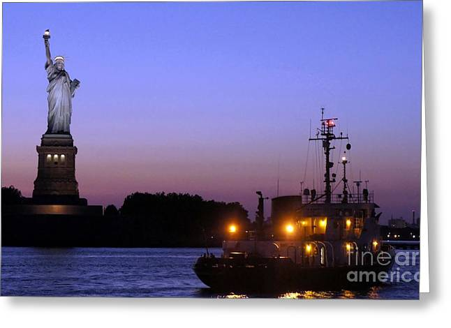 Greeting Card featuring the photograph Lady Liberty At Dusk by Lilliana Mendez