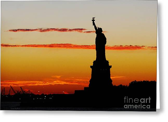 Lady Liberty At Sunset Greeting Card