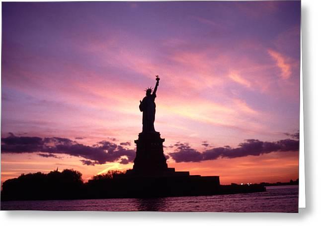 Lady Liberty Awesome Sunset Greeting Card