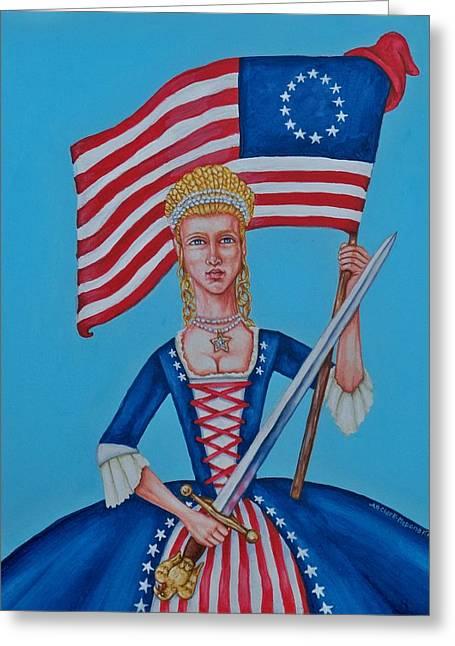 Lady Liberty Greeting Card by Beth Clark-McDonal
