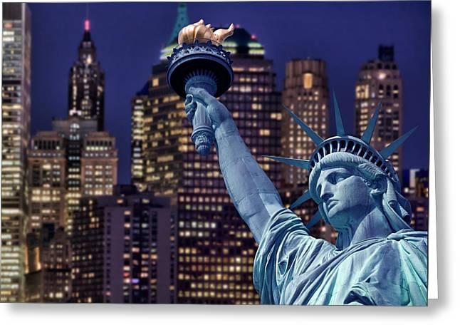 Lady Liberty By Night Greeting Card