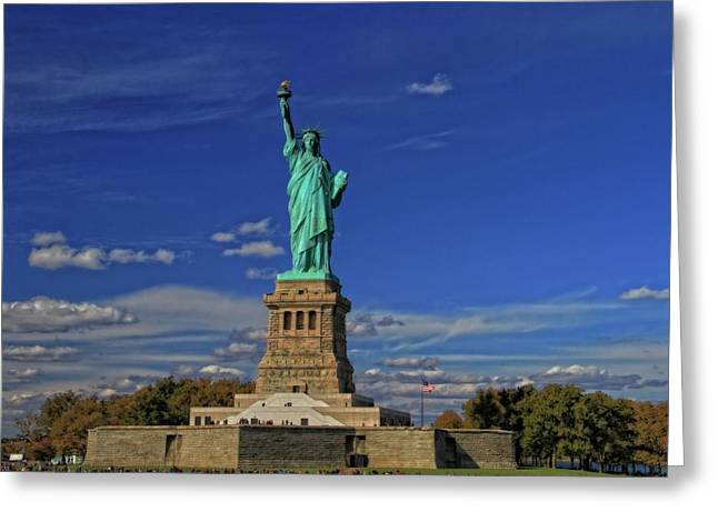 Lady Liberty In New York City Greeting Card by Dan Sproul
