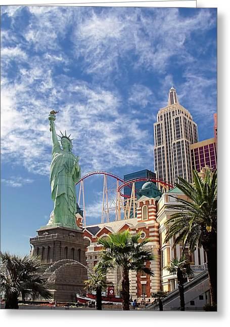 Lady Liberty In Vegas Greeting Card