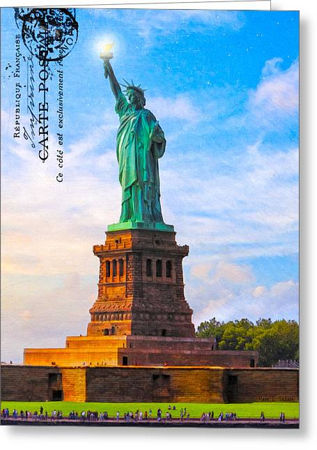 Lady Liberty Lifting Her Light Greeting Card