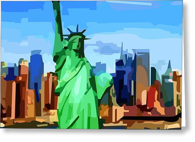 Lady Liberty Greeting Card by P Dwain Morris