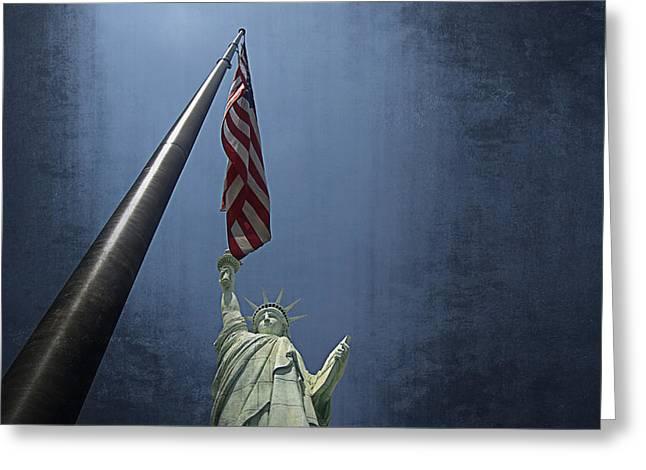 Lady Liberty Vegas Greeting Card