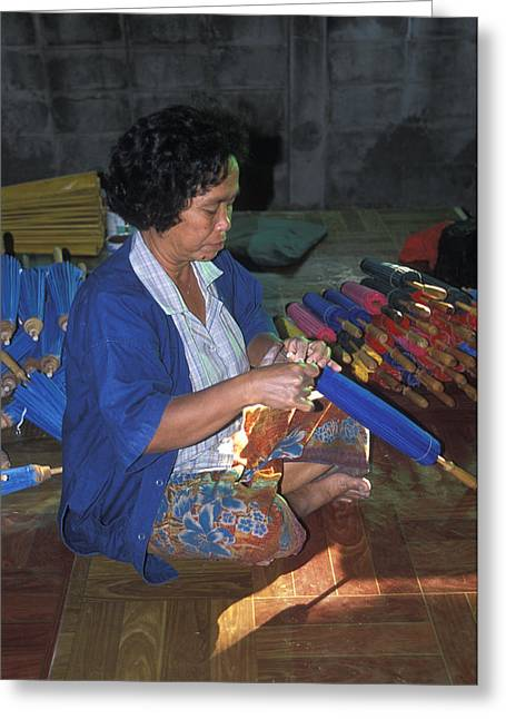 Lady Makes Umbrellas At A Factory Near Chaing Mai Greeting Card by Richard Berry
