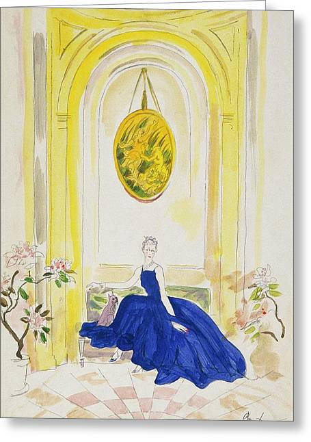 Lady Mendl Wearing A Blue Dress Greeting Card by Cecil Beaton