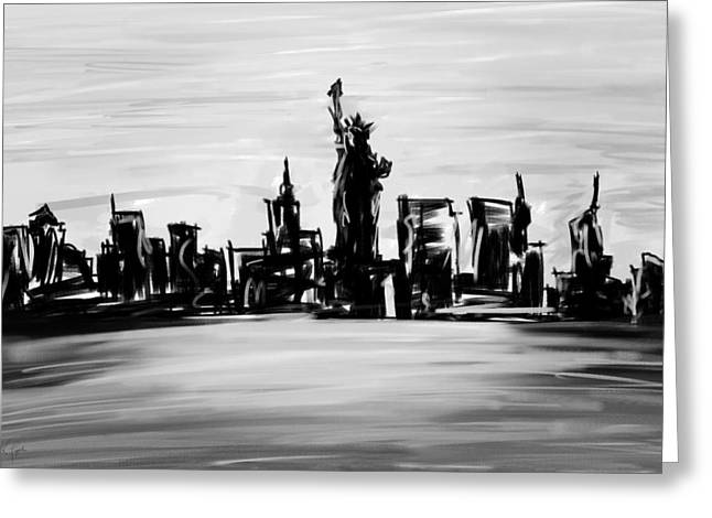 Lady Of New York- Black And White Greeting Card by Lourry Legarde