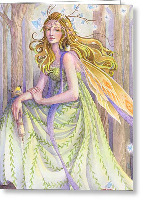 Lady Of The Forest Greeting Card by Sara Burrier