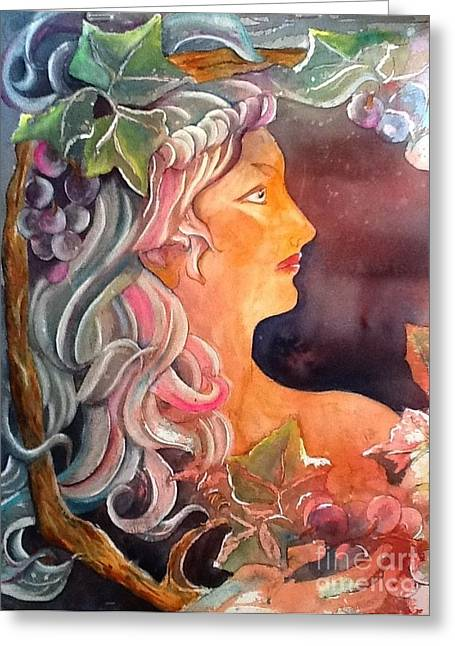 Lady Of The Grapes Greeting Card