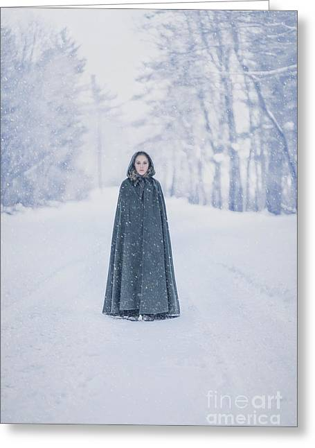 Lady Of The Winter Forest Greeting Card by Evelina Kremsdorf