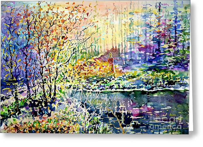 Lady Of Wood And Pond Greeting Card by Alfred Motzer
