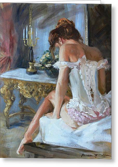 Lady On Bed Greeting Card