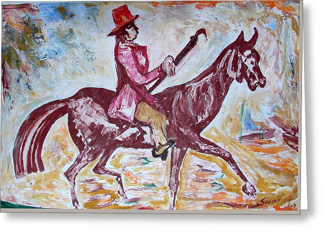 Greeting Card featuring the painting Lady On Horse by Anand Swaroop Manchiraju