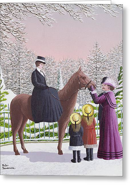 Lady On Horseback Greeting Card