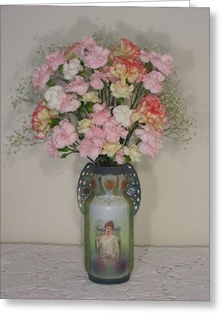 Lady On Vase With Pink Flowers Greeting Card by Good Taste Art