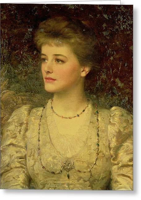 Lady Palmer Oil On Canvas Greeting Card by Sir Frank Dicksee