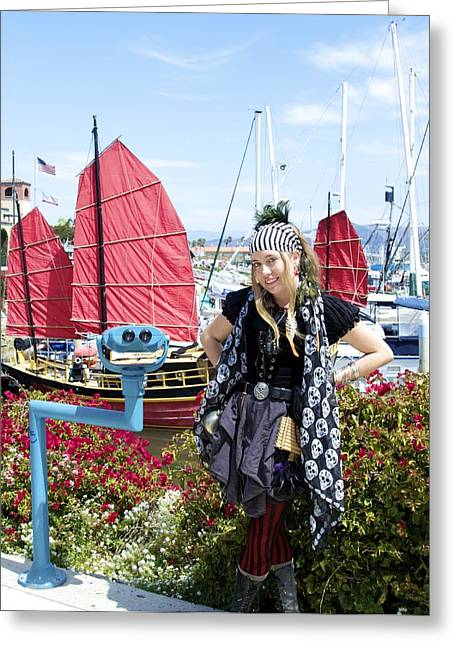 Lady Pirate And Friend Greeting Card